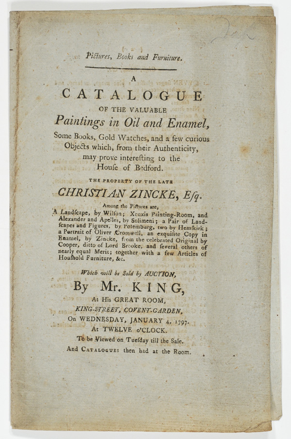 A catalogue of the valuable paintings in oil and enamel...[8 p. ; 21 cm]
