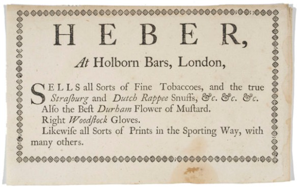 Heber, at Holborn Bars, London sells all sorts of fine tobaccoes... [1 sheet ]