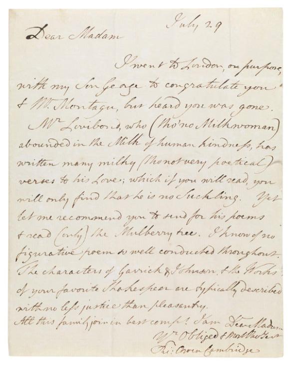 Letter : to Elizabeth Montagu, 29 July [1785?]