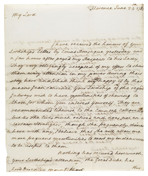 Letter : Florence, to Lord Mountsuart - 1 item (2 p.) ; 25 cm