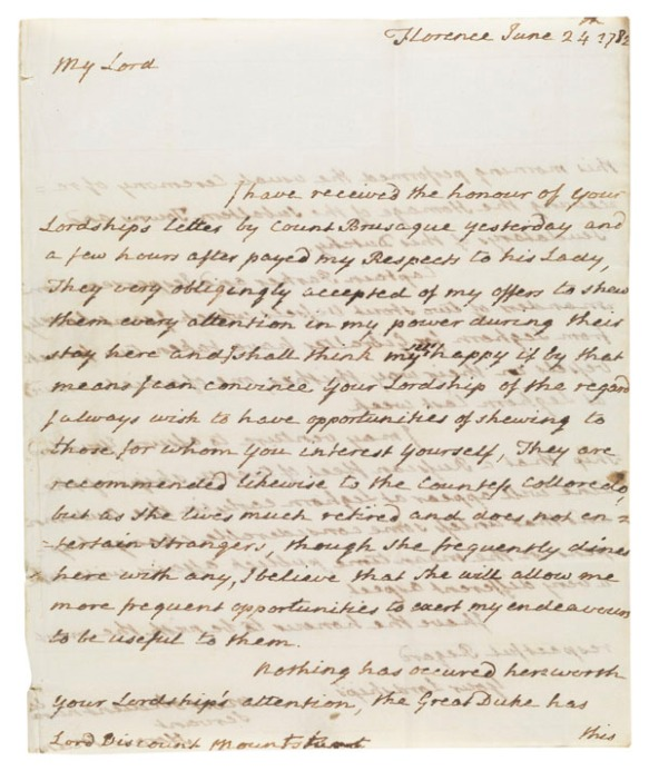 Letter : Florence, to Lord Mountsuart - 1 item (2 p.) ; 25 cm