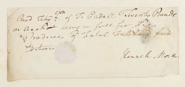 Autograph receipt, signed, 7 Feb. [1781?]