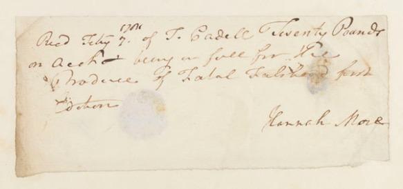 Autograph receipt, signed, 7 Feb. [1781?]