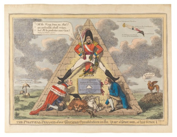Political pyramid: 1 print on wove paper : etching, hand-colored ; plate mark 25.4 x 36.5 cm., on sheet 30 x 39 cm.