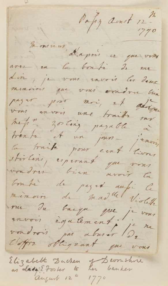 Letters from Elizabeth Cavendish to her banker Jean-Franc̦ois Perregaux: selected=