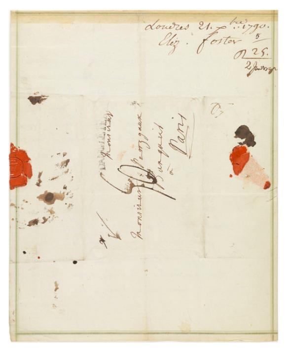 Letters from Elizabeth Cavendish to her banker Jean-Franc̦ois Perregaux: enclosure