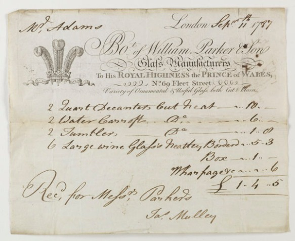 Invoice from William Parker & Son, glass manufacturers...