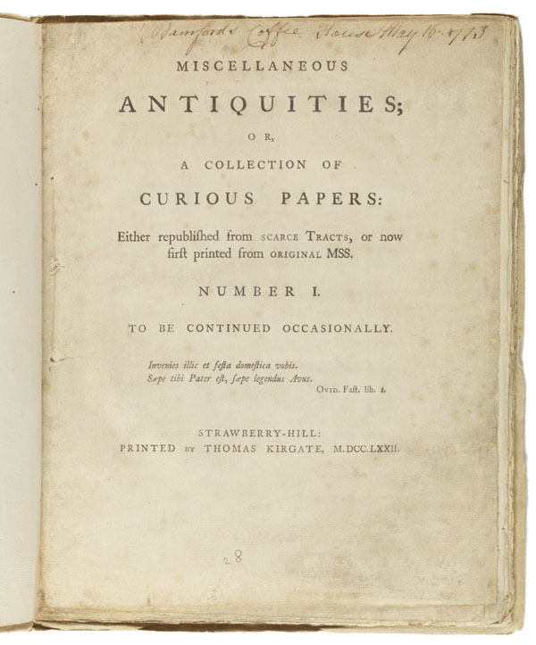 Title page: Miscellaneous antiquities, or A collection of curious papers ...