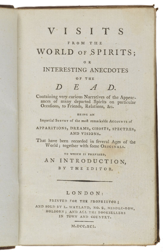 Title page: Visits from the world of spirits...