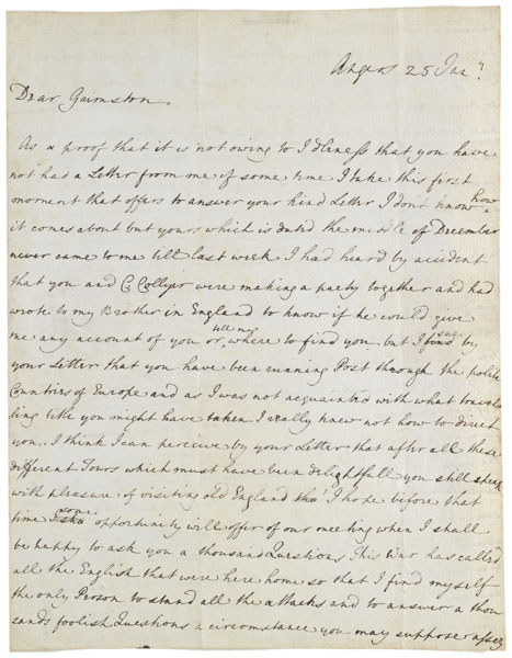 Letter : Angers, to Grimston, 1779 Jan 25.