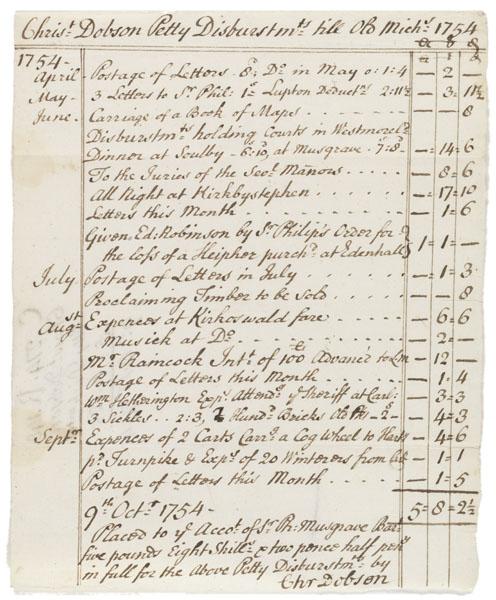 Christopher Dobson petty disbursements, 1754 Oct 9.