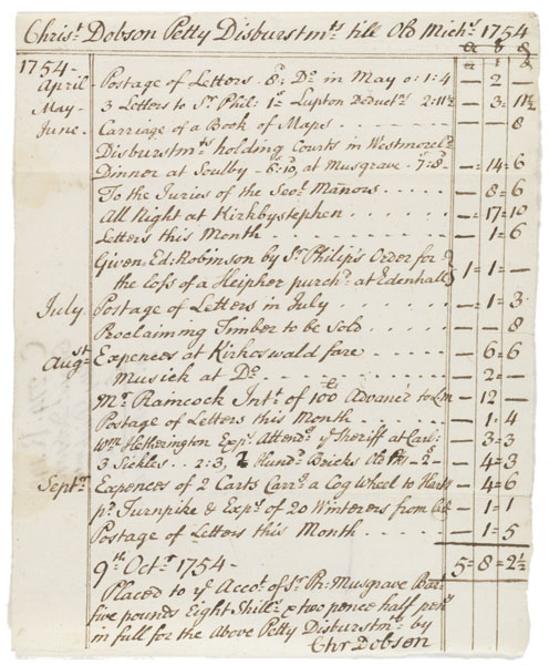 Christopher Dobson petty disbursements, 1754 Oct 9.