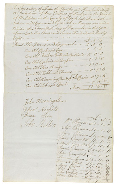 An inventory of all the cloaths and household stuff or furniture of Ann Vinnice ...