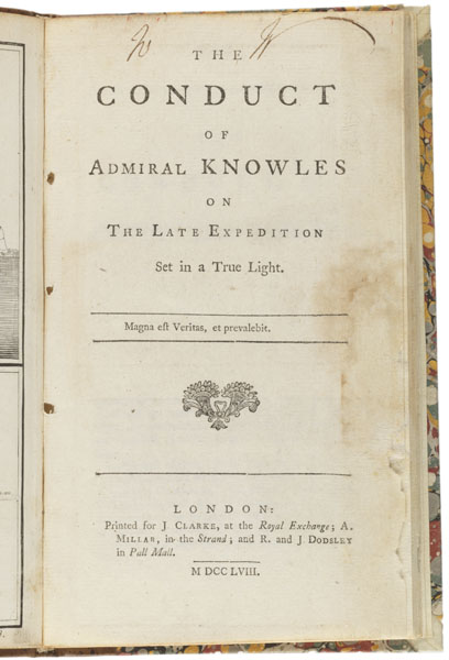 Title Page: The conduct of Admiral Knowles on the late exhibition set in a true light.