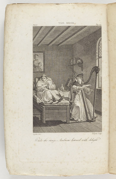 Frontispiece [Copy 2 Vol. 1]: The monk : a romance in three volumes