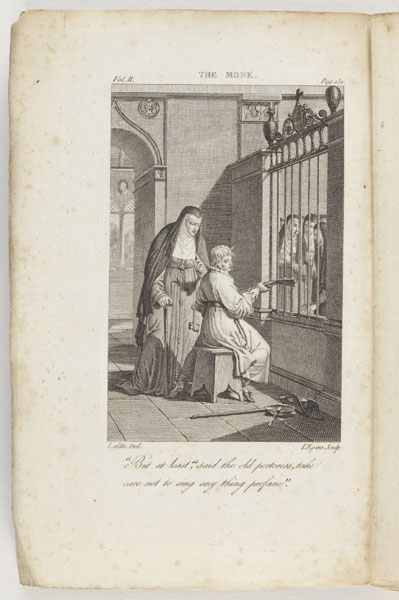 Frontispiece [Copy 2, Vol. 2]: The monk : a romance in three volumes