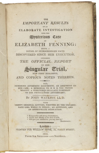 Title page: The important results of an elaborate investigation into the mysterious case of Elizabeth Fenning...