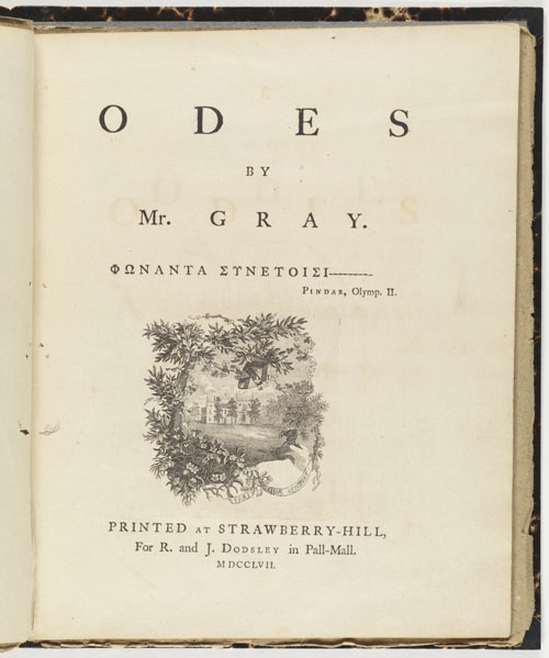 Title Page: Odes by Mr. Gray.