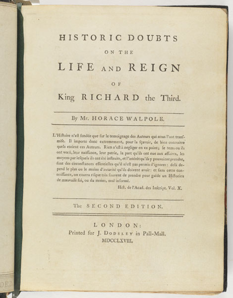 Title Page: Historic doubts on the life and reign of King Richard the Third