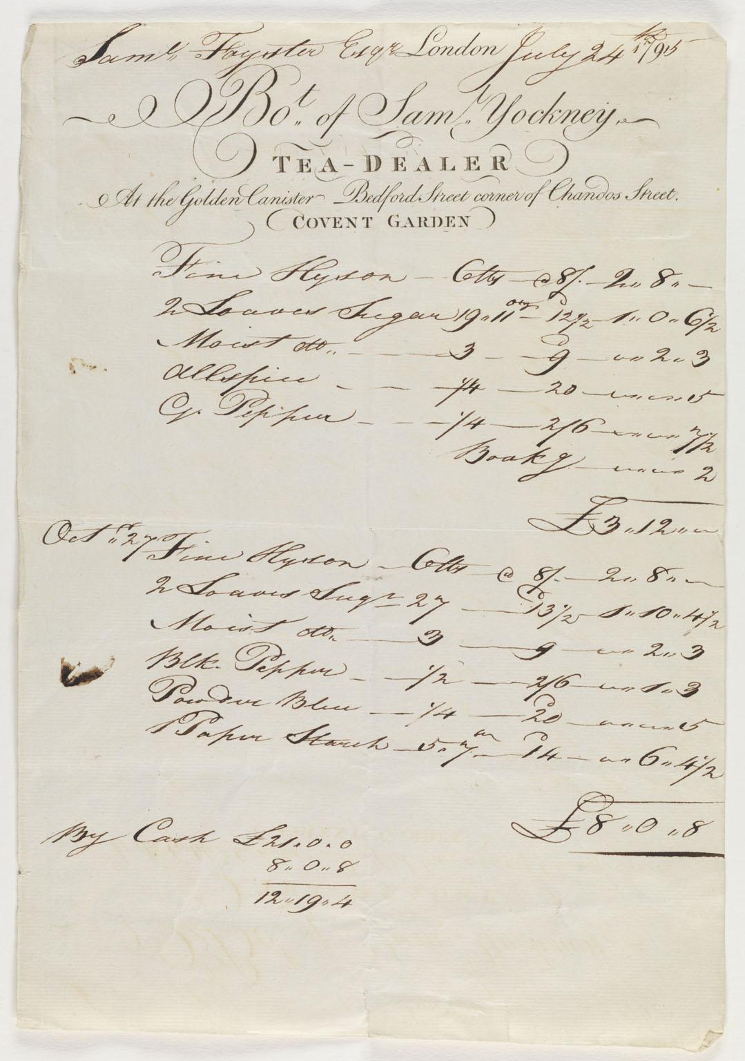 Receipt for goods sold by Samuel Yocknery, tea-dealer