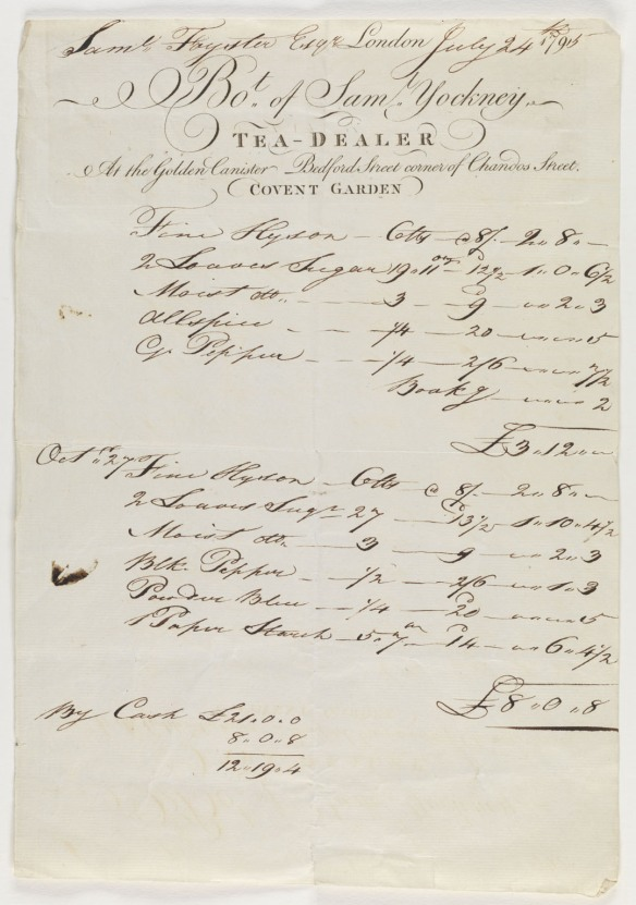 Receipt for goods sold by Samuel Yocknery, tea-dealer