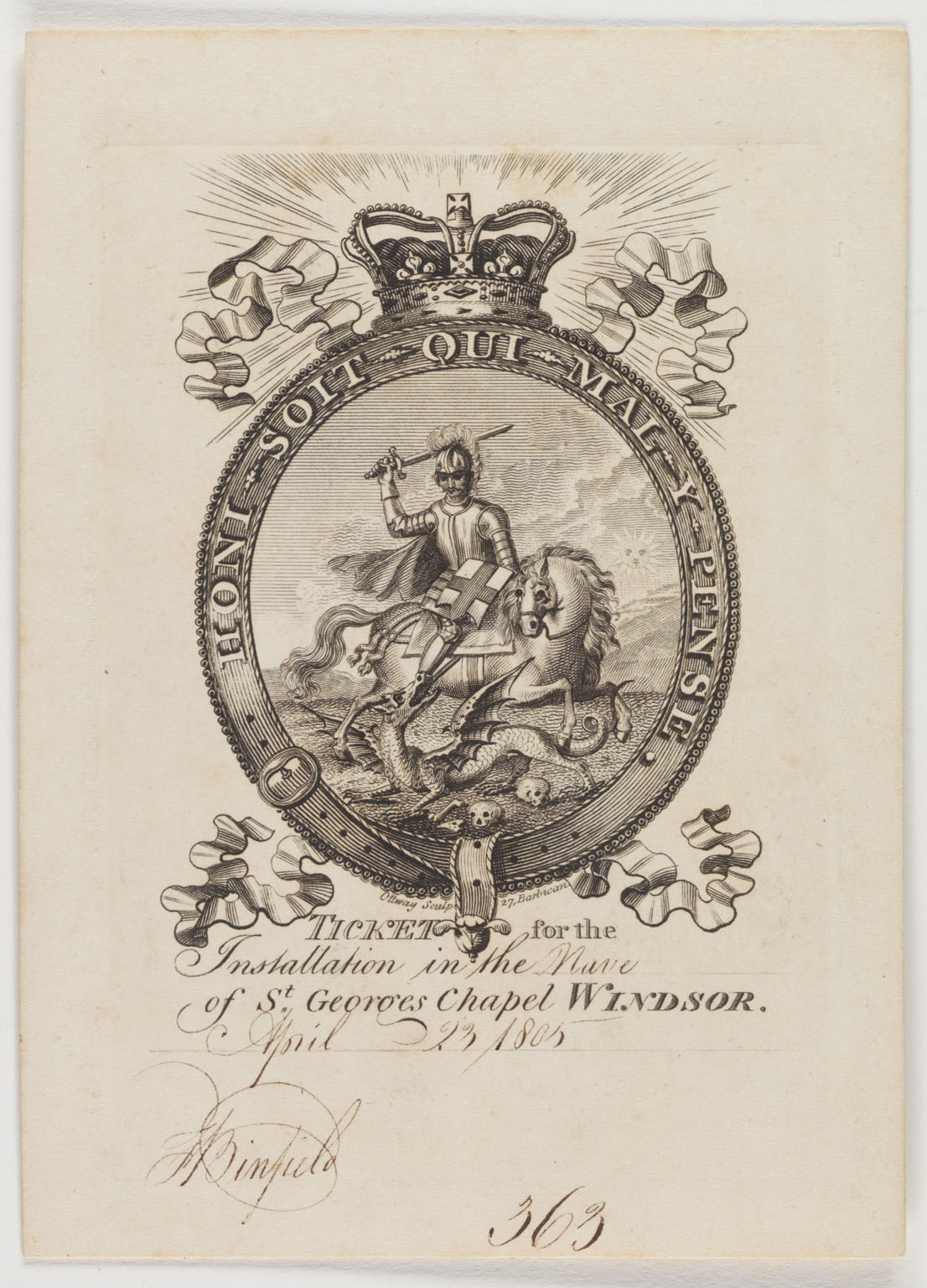Ticket for the installation in the [blank] of St. George's chapel