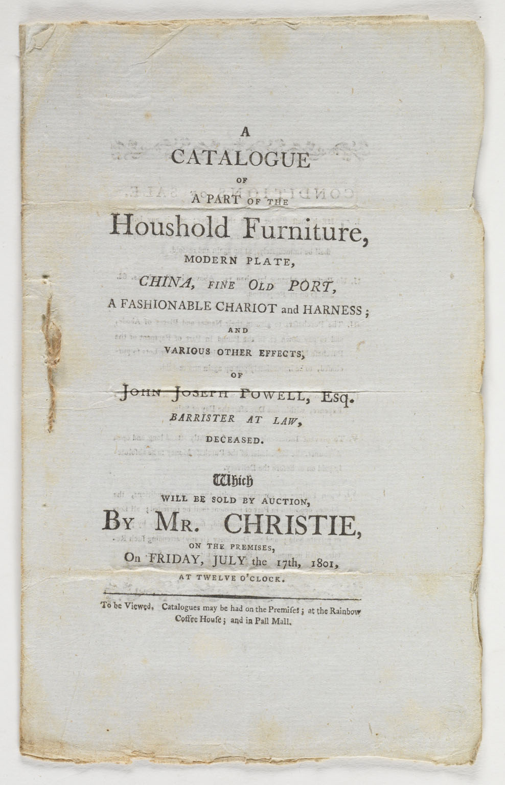 A catalogue of a part of the household furniture, modern plate, china, fine old port...