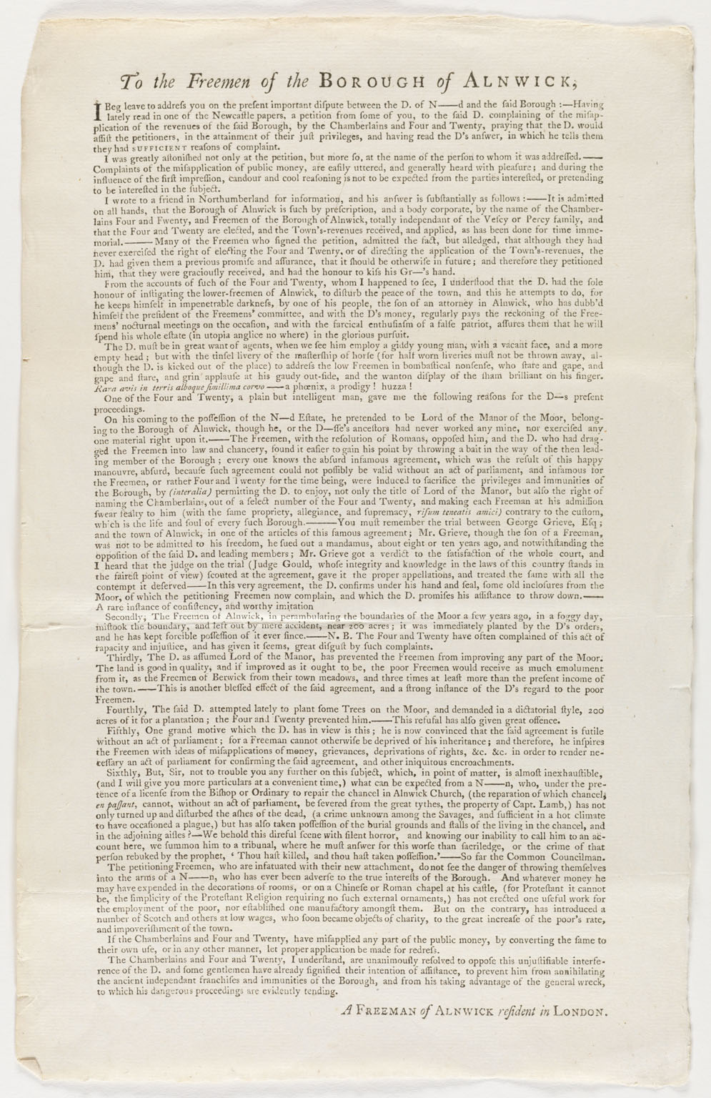 CLICK FOR LARGER IMAGE: To the freemen of the borough of Alnwick.