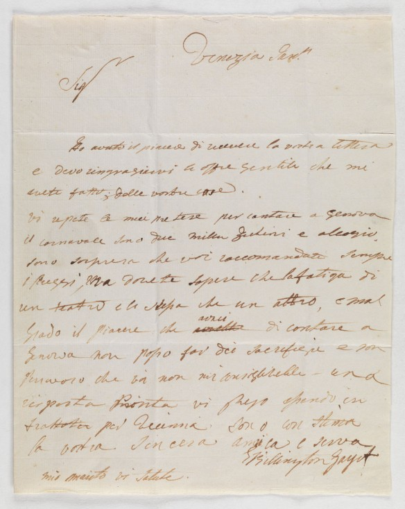 CLICK FOR LARGER IMAGE: Letter : Venice, to Emanuele Niecco, Genoa, [1798?] January.