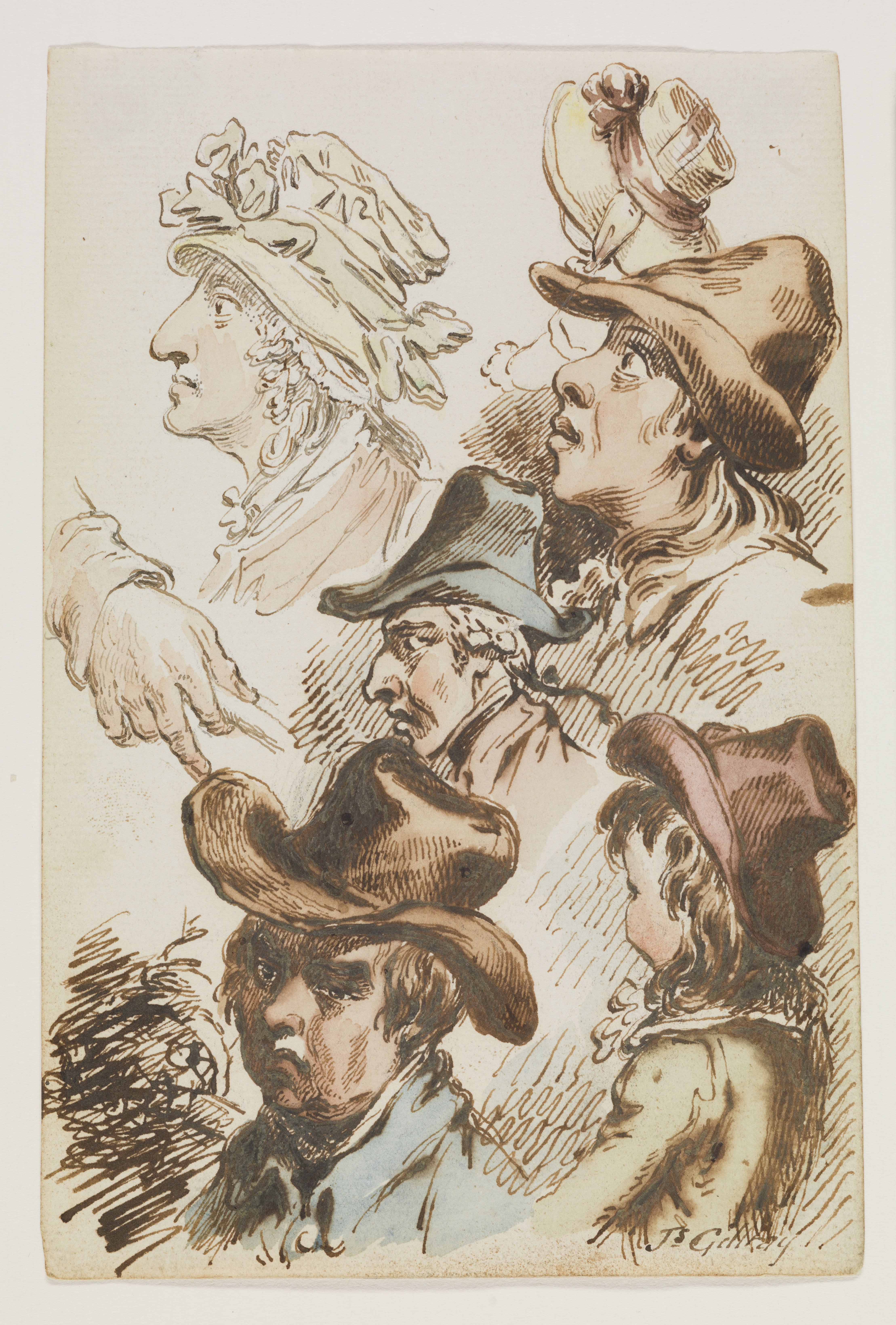 A drawing of six heads mostly in profile, three men, two ladies, and one child, all wearing hats