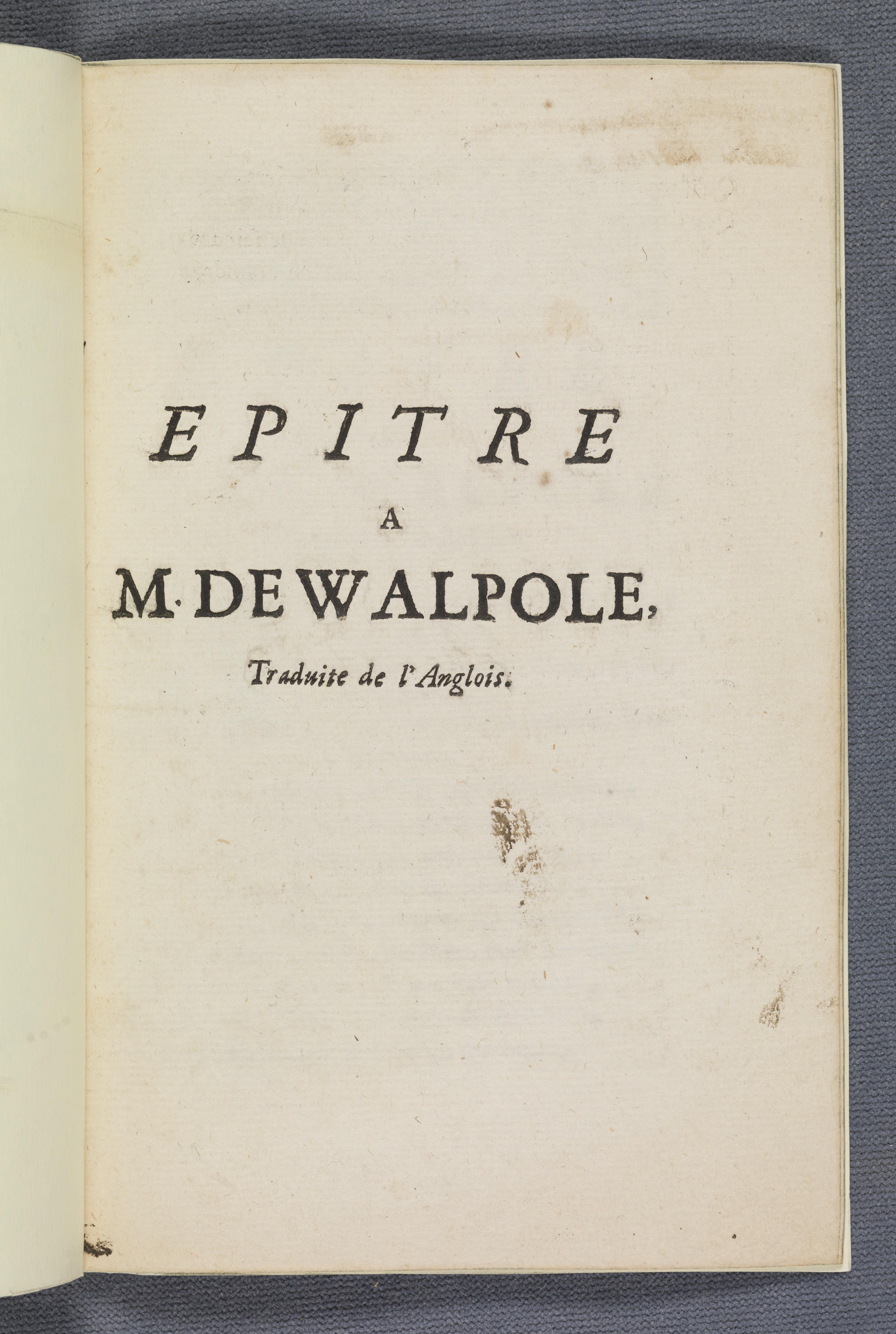 Epitre a M. de Walpole title page