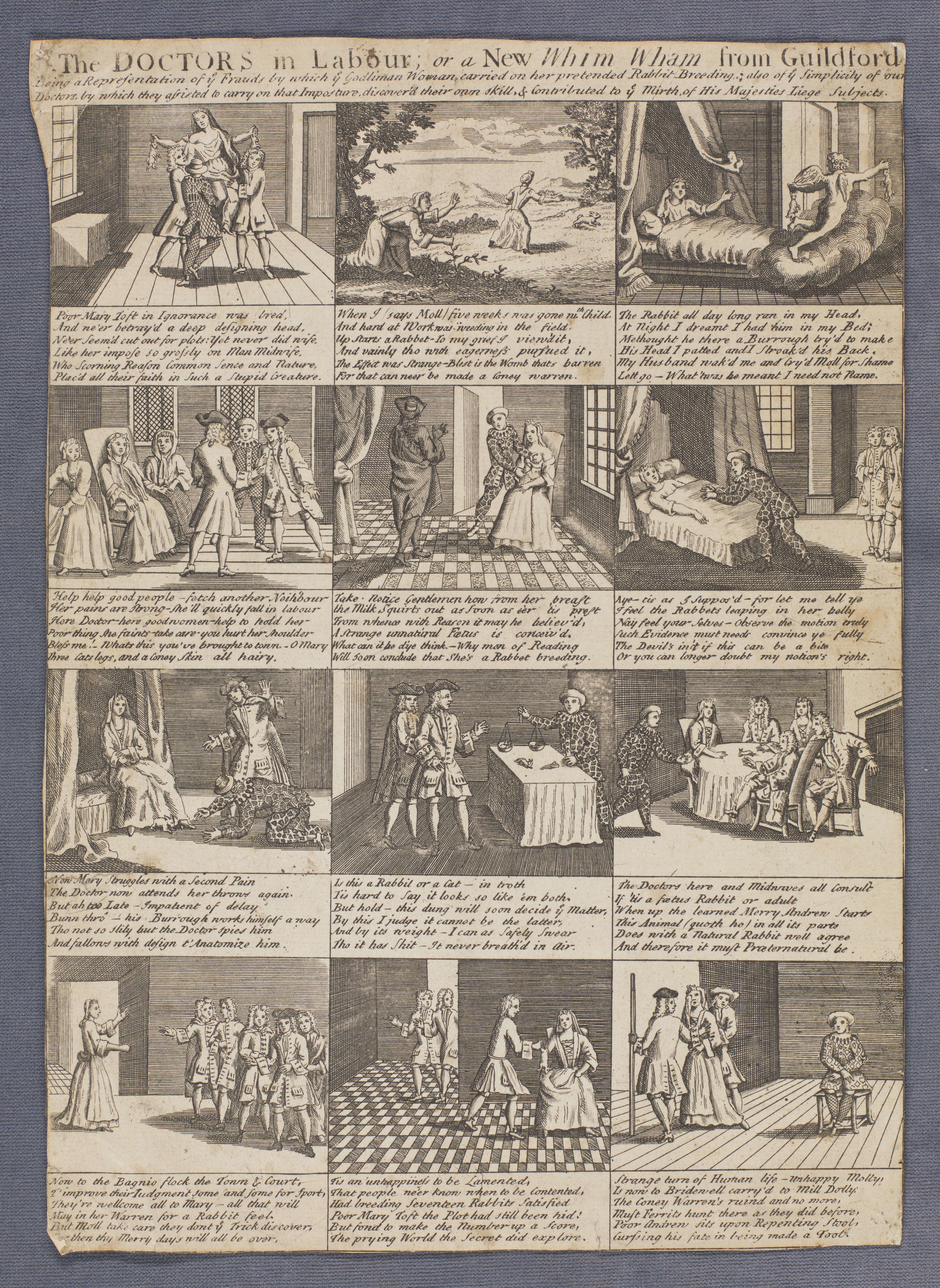 Print with twelve panels relating to the affair of Mary Toft