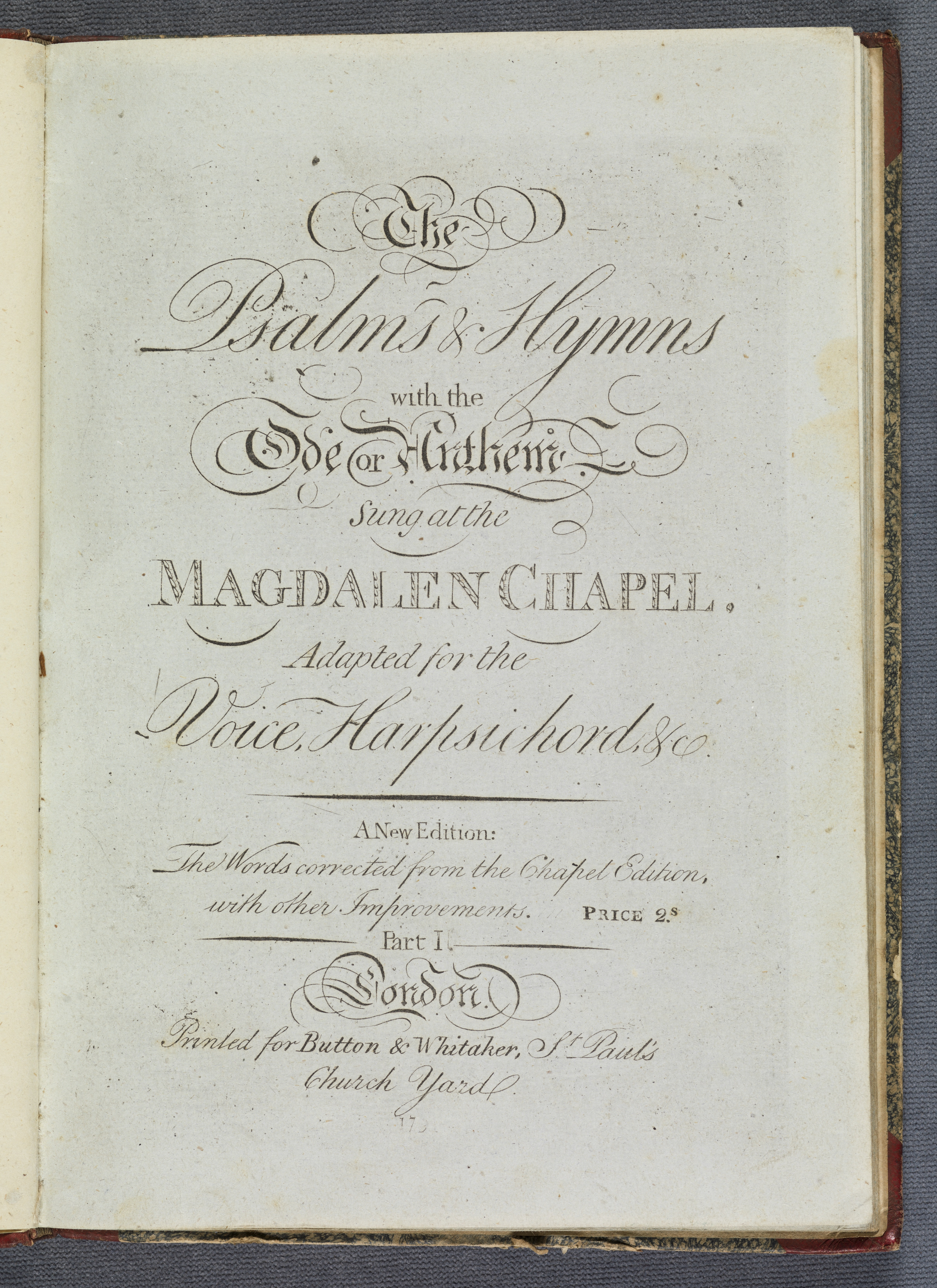 title page for The psalms & hymns with the ode or anthem