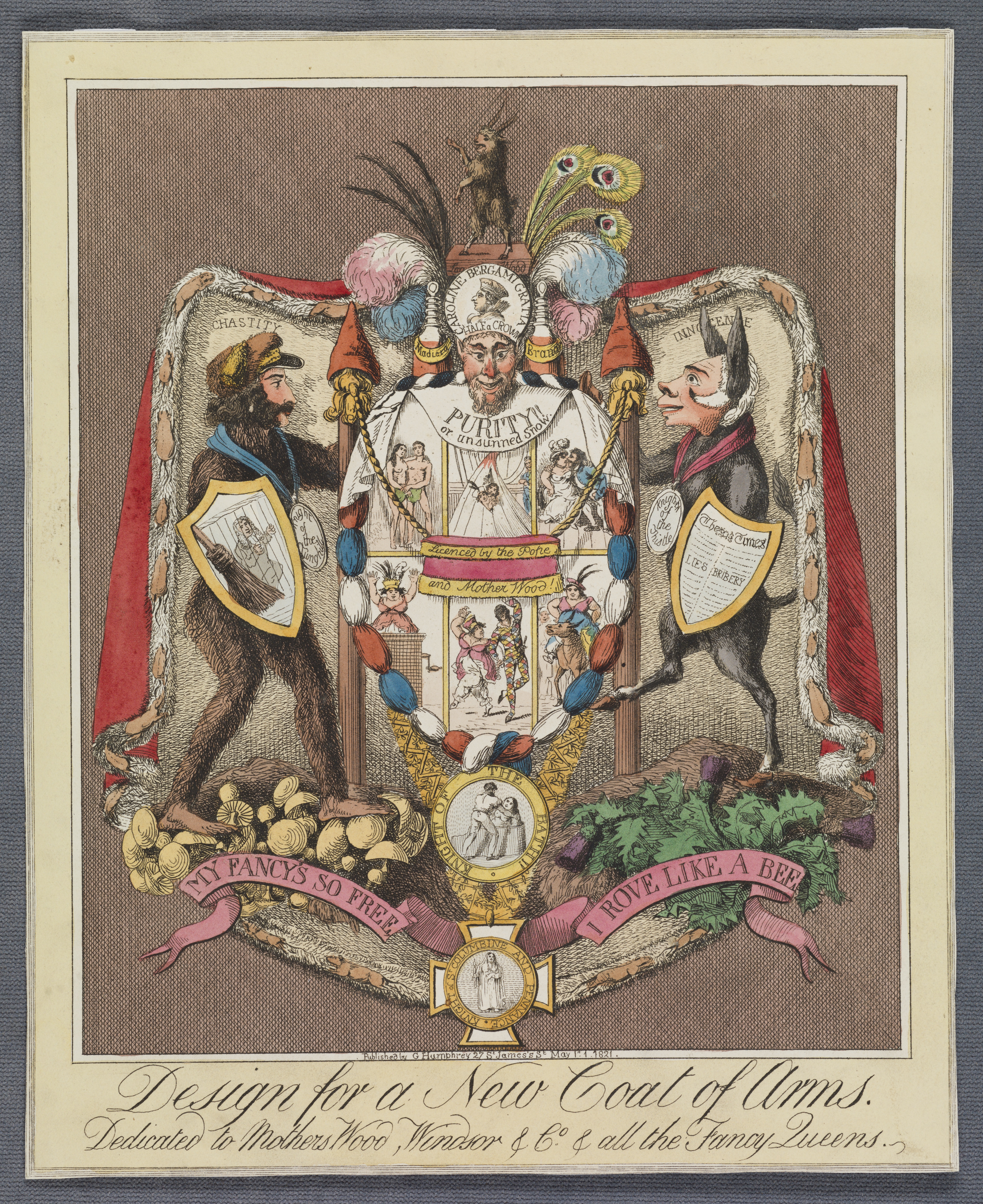 Caricature of a coat of arms for Queen Caroline and Bergami
